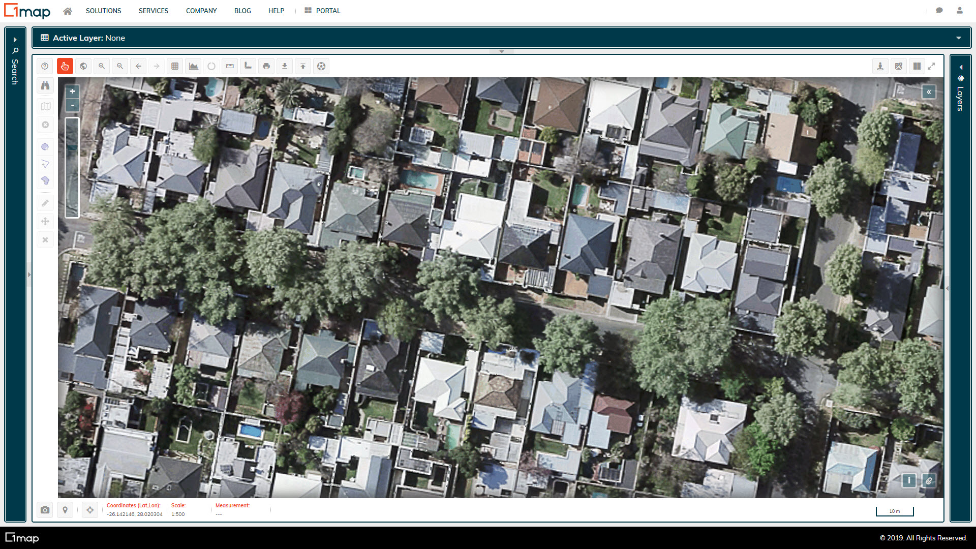 A screenshot of the City of Joburg Aerial Imagery layer.