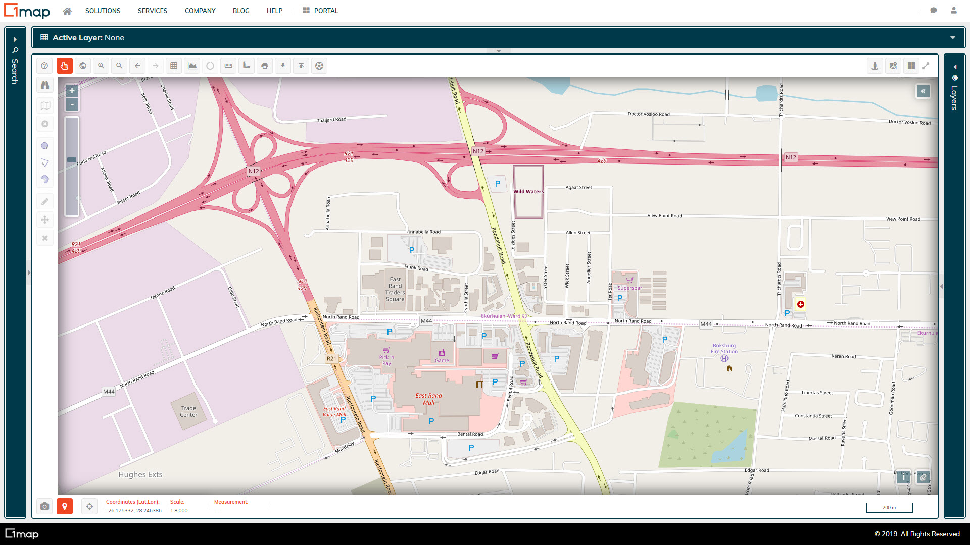 A screenshot of the Open Street Maps (OSM) layer.