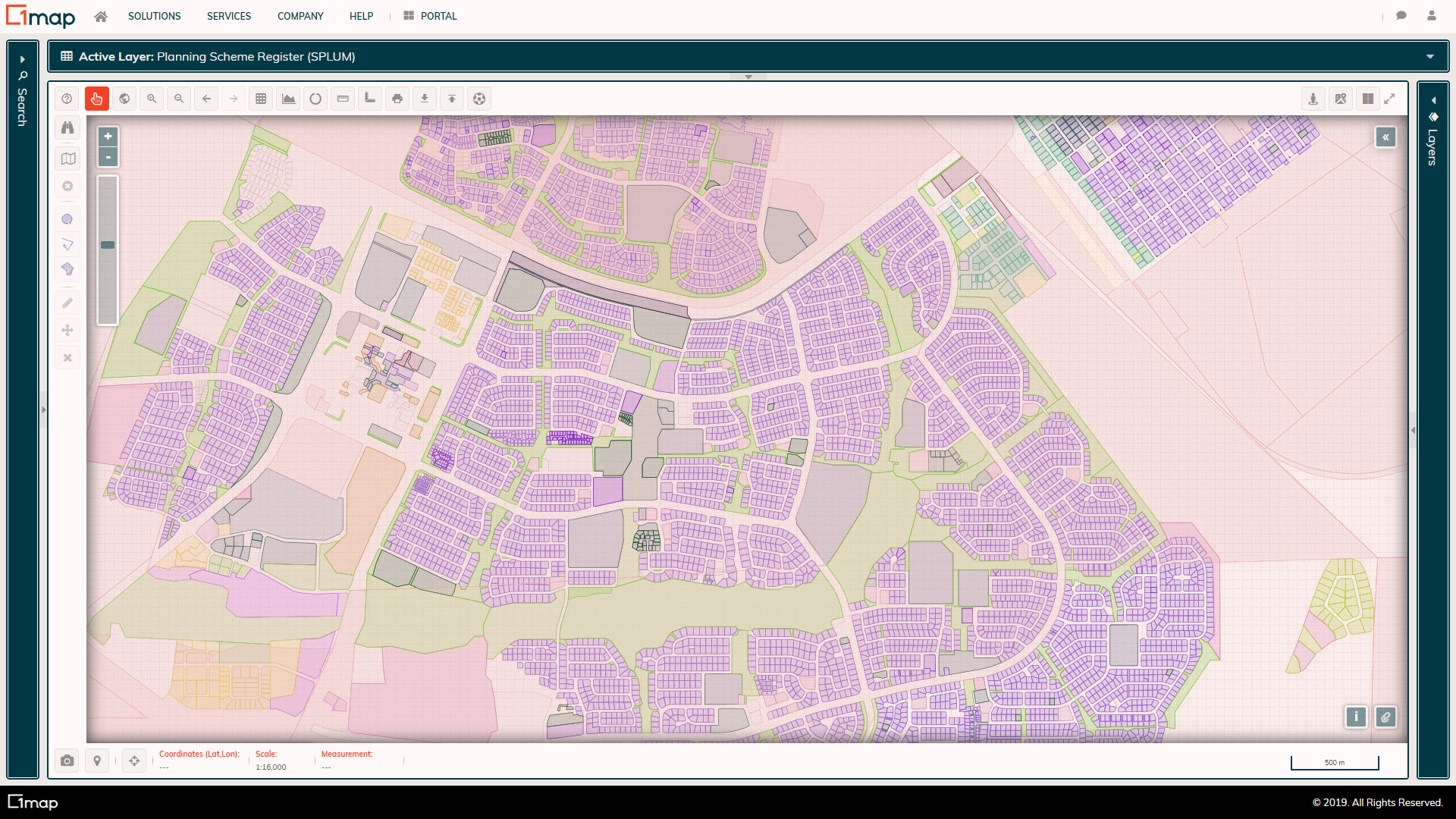 A screenshot of the Planning Scheme Register: Zoning layer.